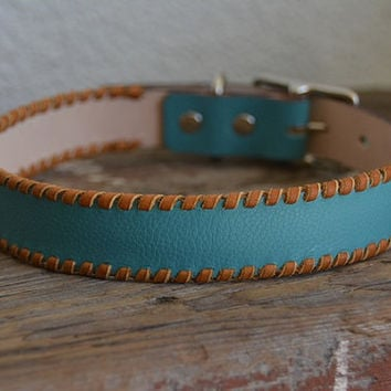 Chino Turquoise Teal Green Leather Dog Collar with Tan Lacing Rustic Bohemian Southwestern Boho Western Leather Dog Collar