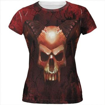 CUPUPWL Halloween Horned Demon Skull From Hell All Over Juniors T Shirt