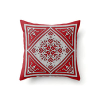 Throw Pillow Cover in a Scandinavian snowflake pattern, white on red, indoor or outdoor pillow covers in 16 x 16, 18 x 18 or 20 x 20 inch