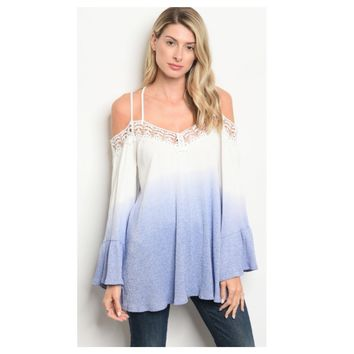 Adorable Me, Off Shoulder Blue Ombre' Top