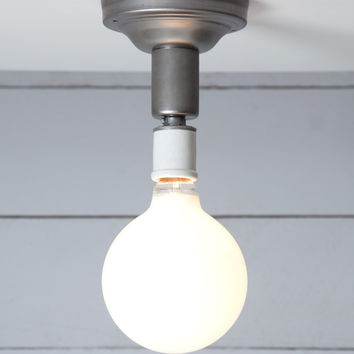 Steel Semi Flush Light - Vintage Bare Bulb Lamp