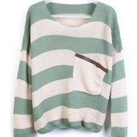 Green Stripes Loose Sweater with Pocket  ST001G