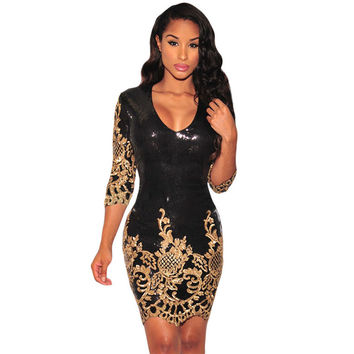 SEBOWEL Women Dress 2016 Black Bodycon Party Dress Gold Sequin Dress Sexy V-Neck 3/4 Sleeves Sheath Club Mini Dress