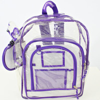 vintage 90s CLEAR purple trim vinyl EASTSPORT backpack