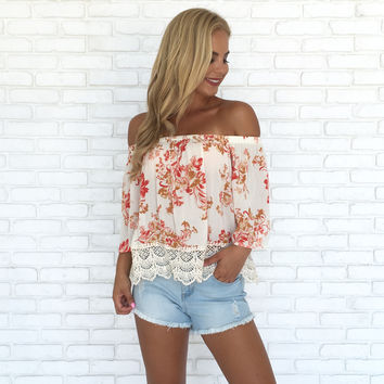 Antique Garden Off Shoulder Print Top