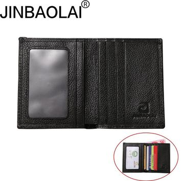 JINBAOLAI Genuine Leather small wallets men Ultra-thin ultra-soft wallets First layer Cowhid simple youth men's purse B3058-8
