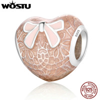 WOSTU Romantic 925 Sterling Silver Pink Bow & Lace Heart Charm Fit Original Pandora