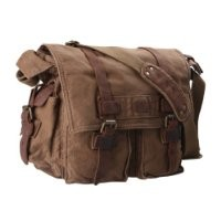 Kattee Classic Military Canvas Shoulder Messenger Bag Leather Straps Fit 16 inch laptop (Brown)
