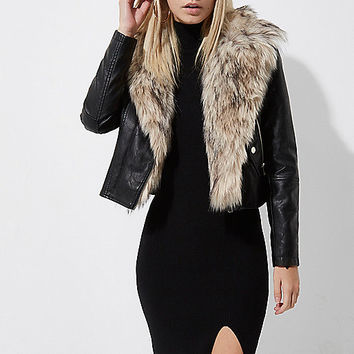 Petite black faux fur collar biker jacket - Jackets - Coats / Jackets - women