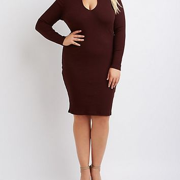 Plus Size Ribbed Mock Neck Keyhole Dress