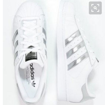 "Summer11""Adidas"" Fashion Shell-toe Flats Sneakers Sport Shoes White silver line"