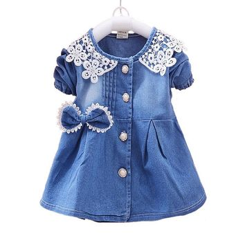 Spring Autumn Denim Dress for Newborn Baby Girl Lace Bow Children's Dresses Outerwear Casual Girls Clothes Infant Clothing 2017