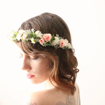 Bridal flower crown, Floral hair wreath, Whimsical wedding headpiece, Pink rose and sage wedding accessory, Boho head piece - MEADOWLARK