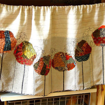 Textile appliqued curtain  Trees in Autumn by BozenaWojtaszek