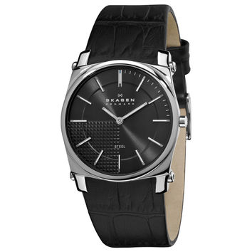Skagen 859LSLB Men's Denmark Black Dial Black Leather Strap Quartz Watch
