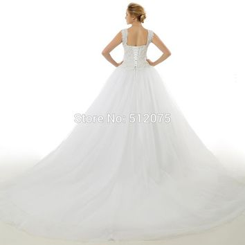 Ball Gown Style Lace Wedding Dresses Vintage Sleeveless Wedding Dress Bridal Gown