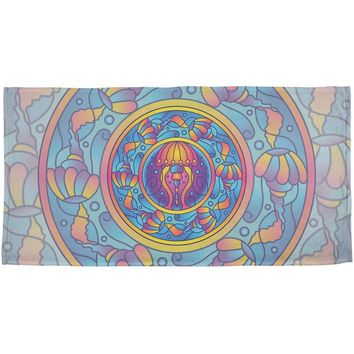 Mandala Trippy Stained Glass Jellyfish All Over Beach Towel