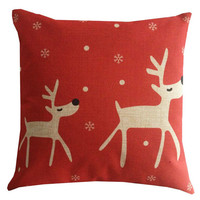 Retro Christmas Deers Home Decor Design For Pillow Cotton Linen Case, Pillow Cushion Case 18 x 18 inches