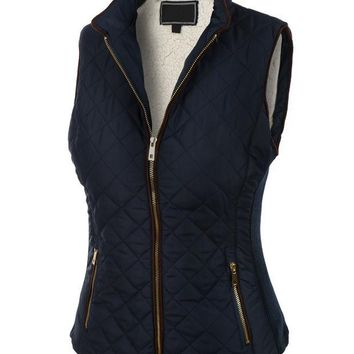 Womens Lightweight Quilted Puffer Jacket Vest with Pockets