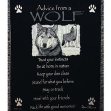 Advice From A Wolf Afghan Throw Blanket