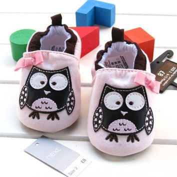 2015 spring and summer cute light pink baby girls lovely owl shoes bow slip-on frist walker cotton soft  prewalker shoes