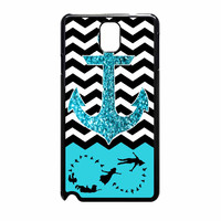 Peter Pan Mint Glitter Anchor Black Chevron Samsung Galaxy Note 3 Case