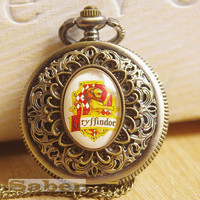 Harry Potter-Vintage Glass Pocket Watch Necklace with Inspired Gryffindor Y131
