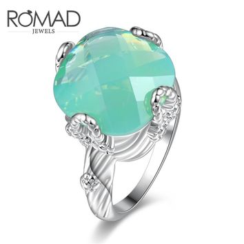 ROMAD 2017 Fashion Square Blue Opal Stone Wedding Rings For Women Silver Color CZ Zircon Ring Female OL Vintage Jewelry Anillos