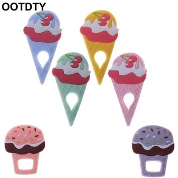 Baby Teether Ice Cream Food Grade Silicone BPA Free Teething Oral Dental Care Newborn Chewable Toys Pendant Necklace Pacifier