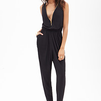 FOREVER 21 Double-Zippered Jumpsuit Black Large