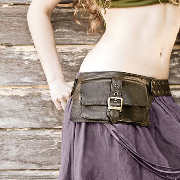 women leather hip bag in Olive, belt pouch, hip bag, utility belt soft leather very comfortable