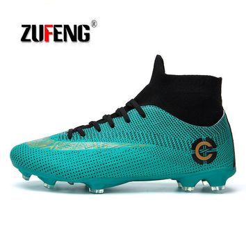 ZUFENG New Adults Men's Outdoor Soccer Cleats Shoes High Top TF/FG Football Boots Training Sports Sneakers Shoes Plus Size 35-45