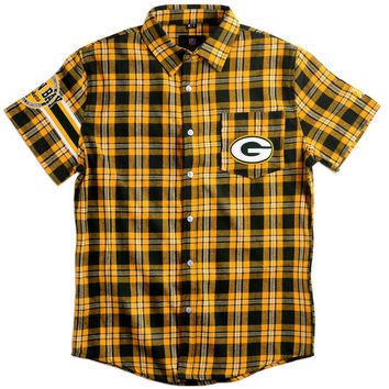 Men's Green Bay Packers NFL Klew Green Wordmark Basic Flannel Shirt