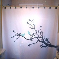 BlueBirds Shower Curtain Tree Branch Nature Lovebirds Blue Bird in a tree leaves Birds Can Be Any Color