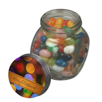 Multicolored Christmas lights. Add text or name. Glass Candy Jars