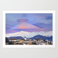 NASA APOD. ASTRONOMY PICTURE OF THE DAY! Lenticular clouds over Granada and Sierra Nevada at sunset Art Print by Guido Montañés