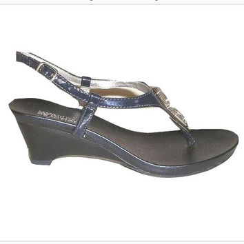 Vintage KENNETH COLE Navy Embellished Thong Wedge Sandals 6 - New Old Stock