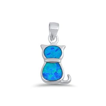 Sterling Silver Small Blue Created Opal Inlay Cat Pendant