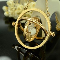 GS New Harry Time Reversal Hourglass Necklace 360 Degree Rotatable Time Converter Magic Potter Pendant Gifts For Kids Kolye G38