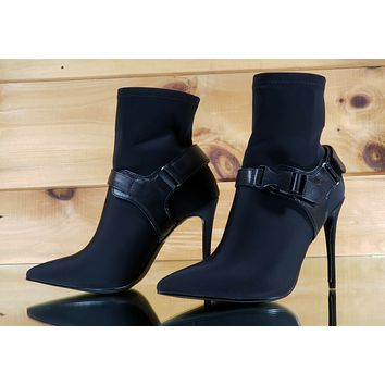 "CR Black Pull On Stretch Pointy Toe Harness Ankle Boot 4"" High Heels"