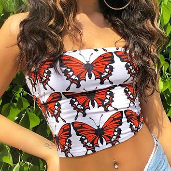 Summer New fashion more butterfly print strapless top women