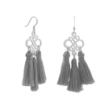 Silver Tone Fashion Earrings with Grey Threaded Tassels