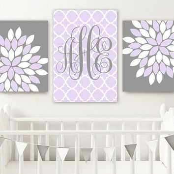 Lilac Gray Girl Monogram Nursery Wall Decor, Baby Girl Monogram Flower Nursery Wall Art, Lilac Gray Girl Bedroom Set of 3, Canvas or Print