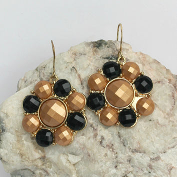 Double Round Earrings, Copper