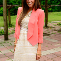 Stand Out Blazer, Coral