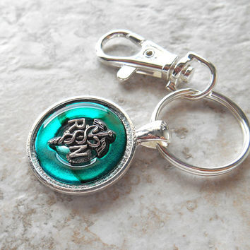 nurse keychain: teal - registered nurse - rn keychain - medical keychain - medical profession - unique gift - graduation gift - caduceus