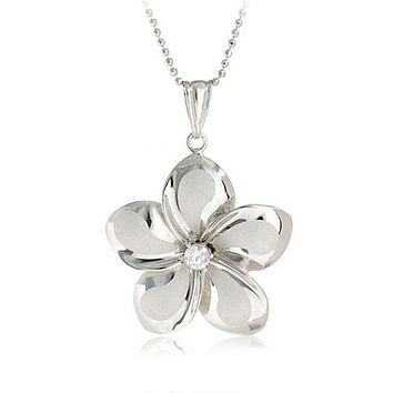 14K White Gold Plumeria Pendant with Clear CZ(XS, S, M, L)