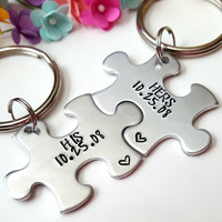 Puzzle Piece Keychains, Couple Keychains, His and Hers, Customizable Date, Relationship Gifts, Boyfriend Girlfriend Keychains, Personalized