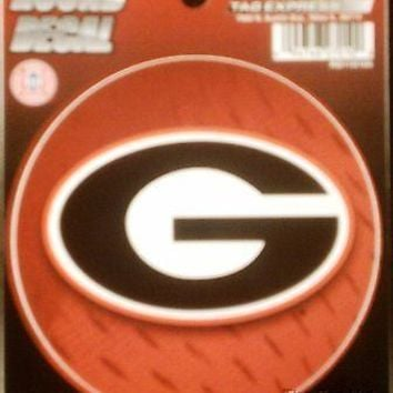 "Georgia Bulldogs 4"" Round Decal Bumper Emblem Sticker Football Baseball Red"