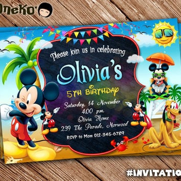 SALE 50 OFF Mickey Mouse Birthday Invitation Card